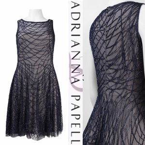Adrianna Papell detail fit and flare mesh dress